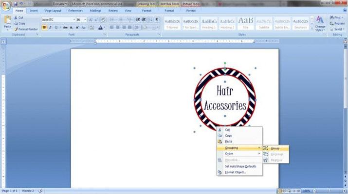 طراحی لیبل در ورد